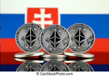 Physical version of Ethereum (ETH) and Slovakia Flag. ...