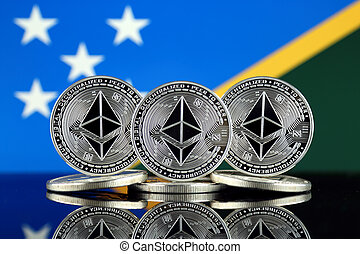 Physical version of Ethereum (ETH) and Solomon Islands Flag...