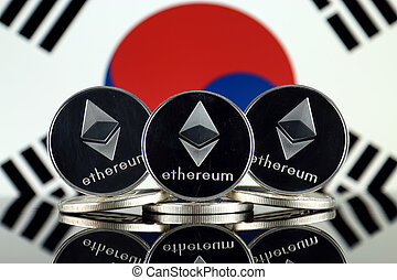 Physical version of Ethereum (ETH) and South Korea Flag. ...