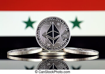 Physical version of Ethereum (ETH) and Syria Flag. ...