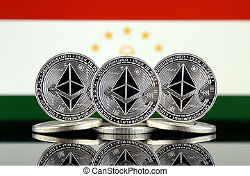 Physical version of Ethereum (ETH) and Tajikistan Flag. ...
