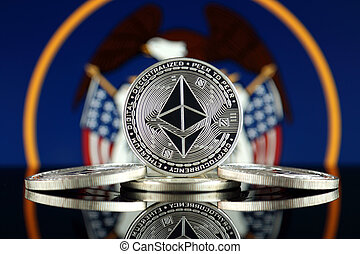 Physical version of Ethereum (ETH) and Utah State Flag. ...