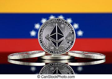 Physical version of Ethereum (ETH) and Venezuela Flag. ...