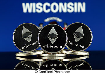 Physical version of Ethereum (ETH) and Wisconsin State Flag...