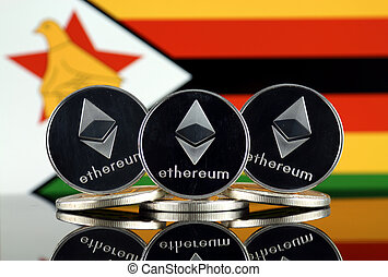 Physical version of Ethereum (ETH) and Zimbabwe Flag. ...