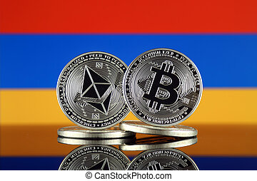 Physical version of Ethereum (ETH), Bitcoin (BTC) and Armenia Flag. 2 largest cryptocurrencies in terms of market capitalization.