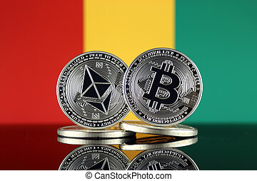 Physical version of Ethereum (ETH), Bitcoin (BTC) and Guinea...