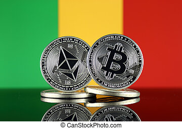 Physical version of Ethereum (ETH), Bitcoin (BTC) and Mali ...