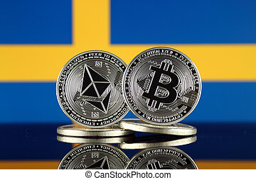 Physical version of Ethereum (ETH), Bitcoin (BTC) and Sweden...