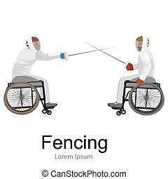 Physically disabled athletes fencing in a wheelchair....