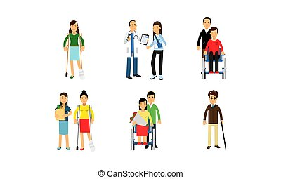 Physically Handicapped Characters With Doctors Or Friends In Daily Life Vector Illustration Set Isolated On White Background