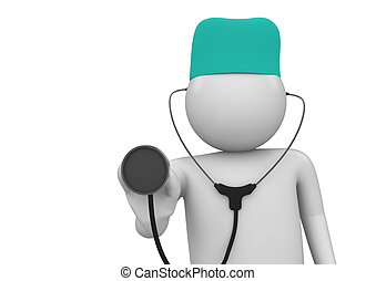Physician at work close-up - 3d isolated characters on white...