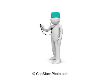 Physician at work - 3d isolated characters on white...