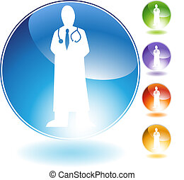 Physician Crystal Icon - Physician crystal isolated on a...
