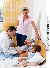 Physician home visit. Examines sick child.