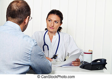 physician practice with patients. conversation