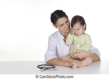 physician with a crying baby on a white background