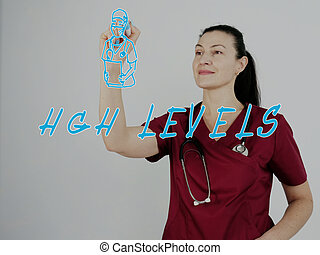physician writing HGH LEVELS Human Growth Hormone on screen by a blue pen