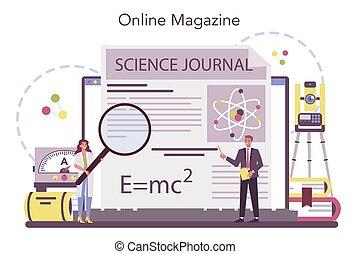 Physicist online service or platform. Scientist explore ...