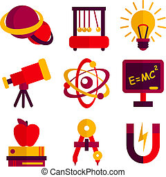 Physics and Astronomy Icons Set - Physics and astronomy...