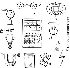 Physics and mechanics sketch icons