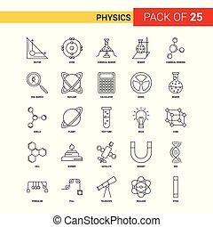 Physics Black Line Icon - 25 Business Outline Icon Set