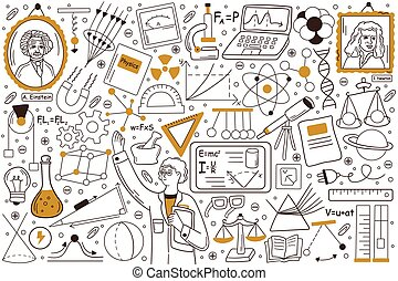 Physics doodle set. Collection of hand drawn templates sketche patterns of man physicist explaining physical laws formulae and holsing equipment tools for tests. Back to school education illustration.