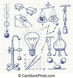 Physics - Hand-drawn physics doodle. Eps8. CMYK. Organized...
