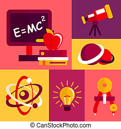 Physics flat design icons set