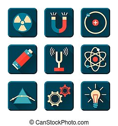 Physics icons in flat design style