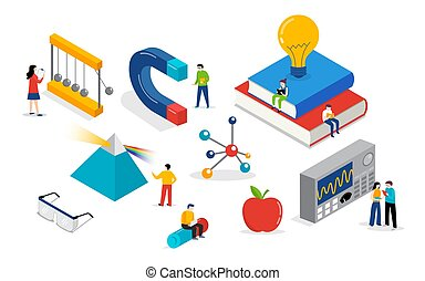 Physics lab and school class. Science, education scene with miniature people, students. Isometric concept design