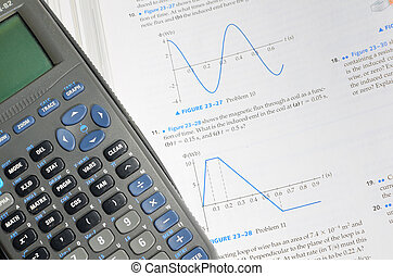 Physics problems with calcuator near by.