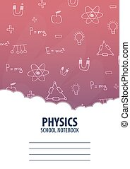 Physics School Notebook template. Back to School background. Education banner.