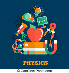 Physics science flat design poster with atom model magnet...