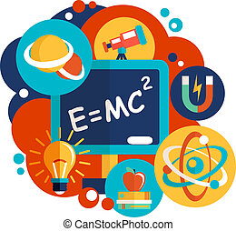 Physics science laboratory equipment flat design emblem vector illustration