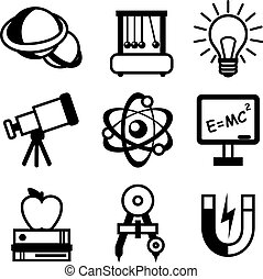 Physics science equipment teaching and studying black and white education icons set isolated vector illustration