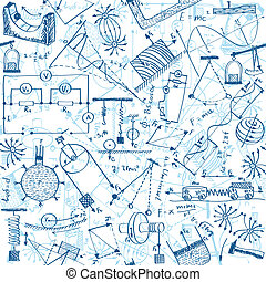 Seamless pattern background - illustration of physics drawings, doodle style