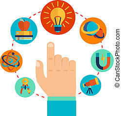 Physics signs concept - Physics signs icons with touching...