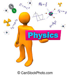 Physics - Orange cartoon character with text Physics.