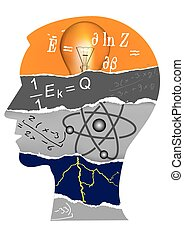 Human Head silhouette with Physics symbols and notes. Vector illustration.