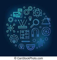 Physics vector round blue illustration on dark background