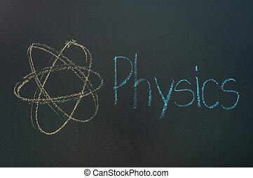 Physics written in white chalk on a black chalkboard