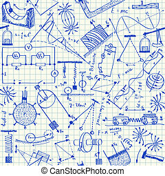 physik, doodles, seamless, muster