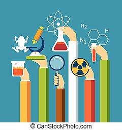 physik, wissenschaft, design, biologie, begriff, wohnung