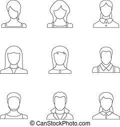 Physiognomy face icons set, outline style
