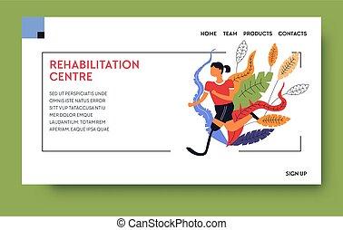 physiothérapie, clinique, gabarit, rééducation, centre, page...