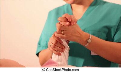 physiothérapie, enfants, main