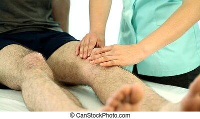 physiothérapie, genou, masage, vidéo