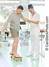 physiothérapie, homme, équilibre