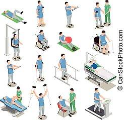 physiothérapie, isométrique, icônes